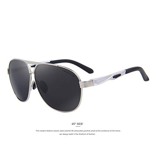 Los aluminio Defender Gris de Silver C03 TIANLIANG04 polarizadas C02 sol hombres la de HD las Gafas tonos recubrimiento EMI lentes de Guía de gafas clásico de AwIdq47I