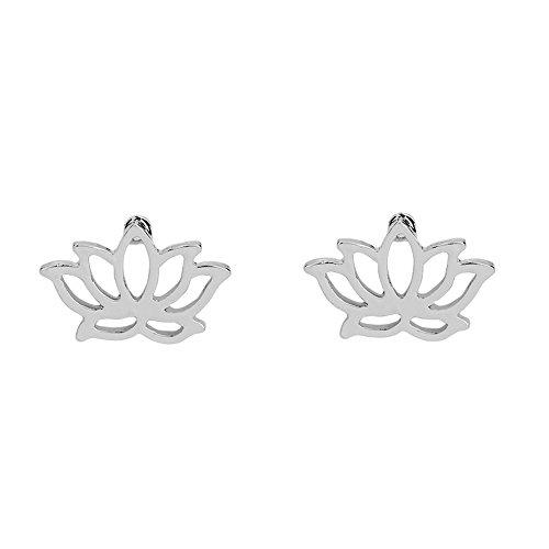 CHUYUN Sterling Gold Silver Lotus Blossom Flower Stud Earrings Jewelry Simple Chic Earrings Best Gift For Women Sisters Girls (Lotus Blossom Earrings)