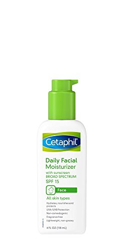 Cetaphil Daily Facial Moisturizer with Sunscreen Broad Spectrum SPF 15, Fragrance Free, 4 oz (Pack of 2)