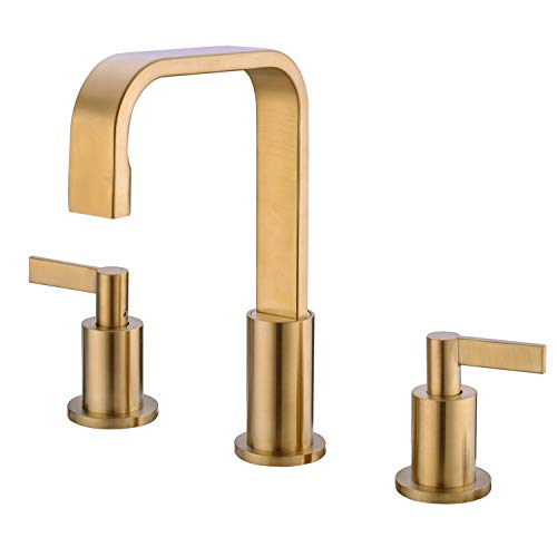(TRUSTMI 8-16 Inch Widespread Brass Bathroom Basin Sink Mixing Faucet 2 Handle 3 Hole Swivel Vessel with Valve and cUPC Water Supply Hose, Brushed Gold )