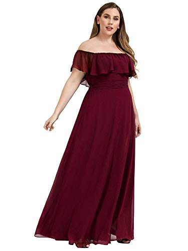 Ever-Pretty Women's Plus Size Wedding Dress Off The Shoulder High Thigh Slit Maxi Dress Burgundy US20