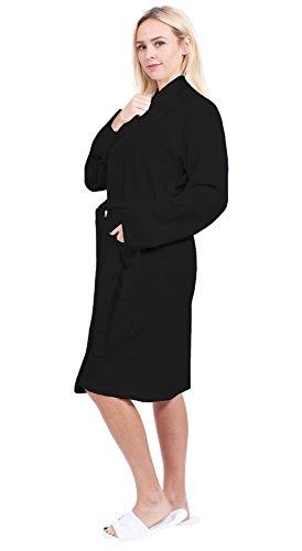 Turkuoise Women's Long Waffle Robe, 100% Cotton Kimono Bathrobe Made In Turkey, Diamond Pattern (Black, Medium) Diamond Waffle Robe
