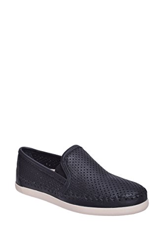 Minnetonka Women's Pacific Perforated Slip On,Black Leather,US 8.5 M (Perforated Leather Slip)