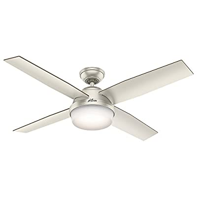 Hunter Indoor / Outdoor Ceiling Fan with light and remote control - Dempsey 52 inch, Matte Nickel, 59450