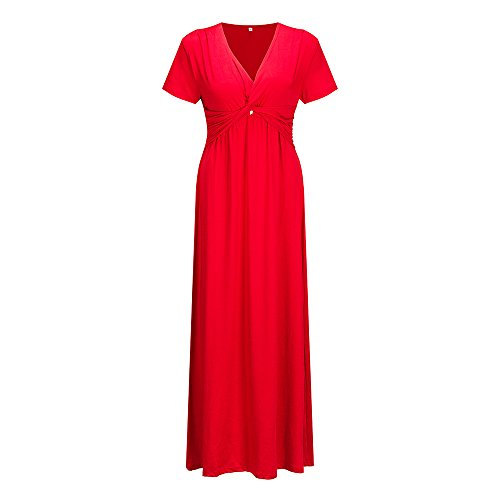 Maxi Wedding Party Cocktail Short Waist Women Dress Knot Plus Empire s Bewish Size V Sleeve Dress Red Long Neck 8nznWZ6