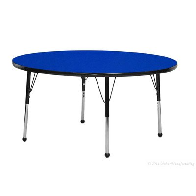 """Creative Colors O48RNYL-SB Activity Table, Ball Glides, Standard Height, 48"""" Round, Oak Top, Yellow Edge"""