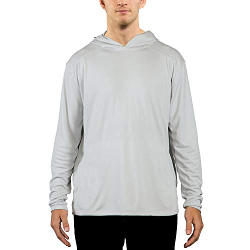 Vapor Apparel Men's UPF 50+ UV Sun Protection Performance Long Sleeve Hoody X-Large Pearl Grey (Built Hoodie Case)