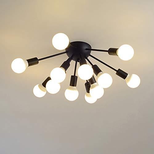 HYKY Sputnik Chandelier, 12 Head Wrought Iron Pendant Lights Modern Ceiling Lamp Bedroom Living Room Dining Room Cafe Decoration Lamps, 110-220v, Black