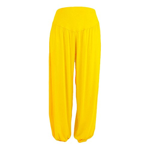 gugs Yoga Pants Bohemian Harem Loose Yoga Travel Lounge Festival Casual Beach Pants Casual Loose Paper Bag Waist Long Pants Trousers Shorts with Bow Tie Belt Pockets (XL, Yellow)