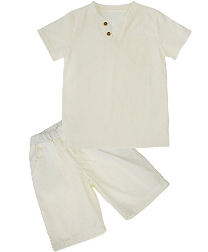 Kids Linen Shorts - Little Boy Linen Cotton Short Sleeve