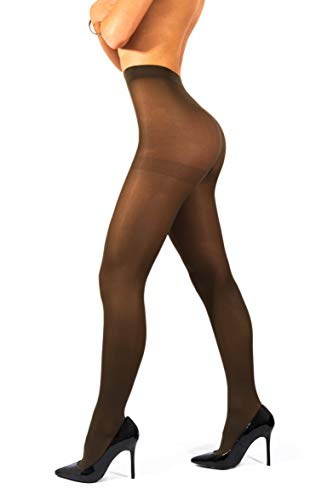 - sofsy Opaque Microfibre Tights for Women - Invisibly Reinforced Opaque Brief Pantyhose 40Den [Made In Italy] Military Green 2 - Small