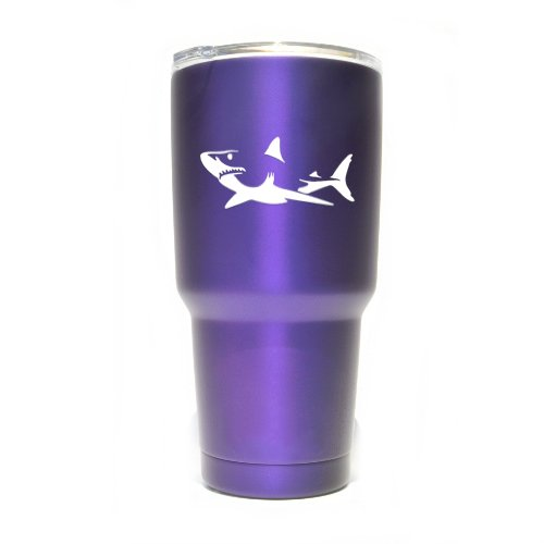 (Shark Vinyl Decals Stickers ( 2 Pack!!! ) | Yeti Tumbler Cup Ozark Trail RTIC Orca | Decals Only! Cup not Included! | 2 - 4 X 1.75 inch White Decals | KCD1104W)