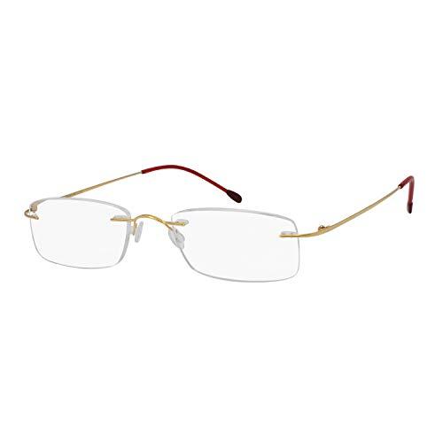 (OCCI CHIARI Titanium Reader Men Women Lightweight Rectangular Rimless Reading Glasses(Gold,+2.5))