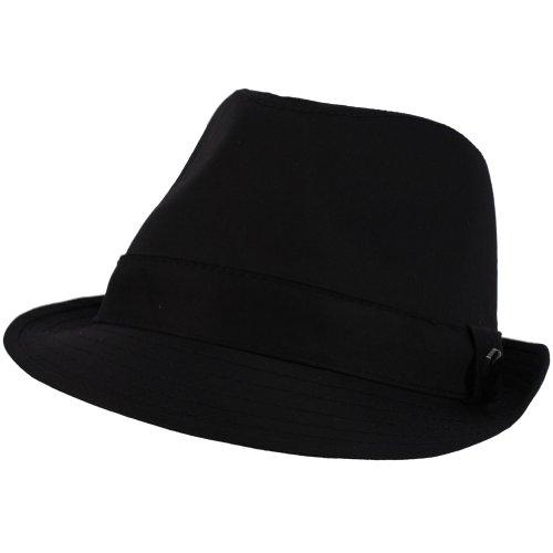 Men's 100% Cotton Summer Cool Solid Blank Fedora Derby Trilby Hat Navy 58cm L/XL