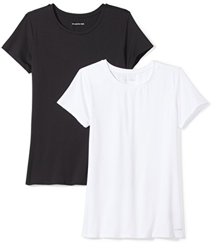 Amazon Essentials Women's 2-Pack Tech Stretch Short-Sleeve Crewneck T-Shirt, -black/white, X-Large
