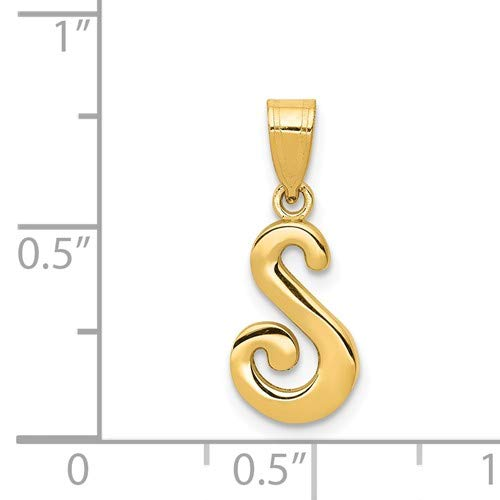 14K Yellow Gold S Script Initial Pendant from Roy Rose Jewelry