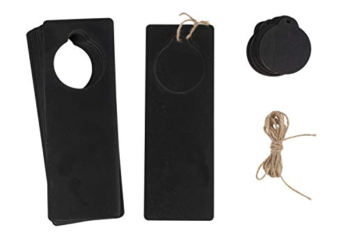 Chalkboard Door Knob Hangers - 12-Pack Unfinished Wooden Door Hangers, Door Knob Sign, Blackboard Sign, Disturb Tags, for DIY Craft Projects, Home, Office, Hotel Decoration, 9.2 x 3.2 x 0.1 inches ()