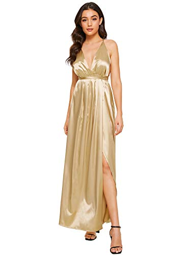 - SheIn Women's Sexy Satin Deep V Neck Backless Maxi Party Evening Dress Large Gold