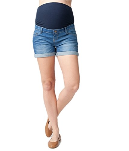Ripe Maternity Women's Maternity Denim Shorty Shorts, Blue, X-Small by Ripe