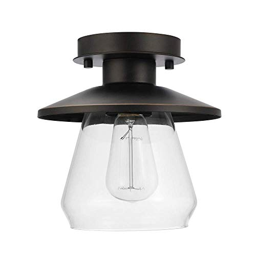 Bronze Flush Shade - Globe Electric 64846 Nate Light Semi-Flush Mount, Oil Rubbed Bronze with Clear Glass Shade, 1 (Renewed)