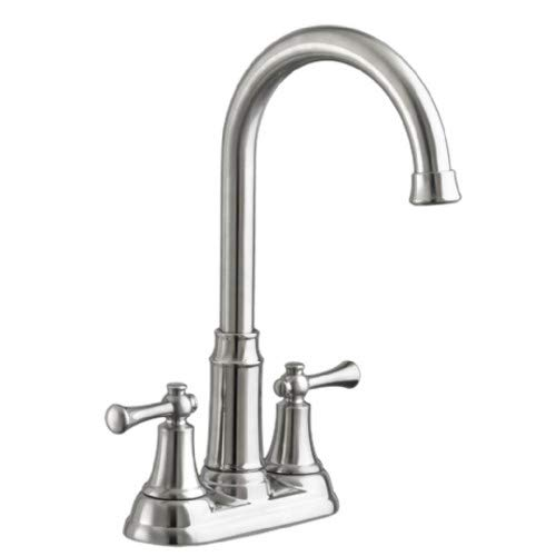 (American Standard 4285.420.075 Portsmouth Two Handle, Centerset, High Arc Bar Faucet, Stainless Steel)