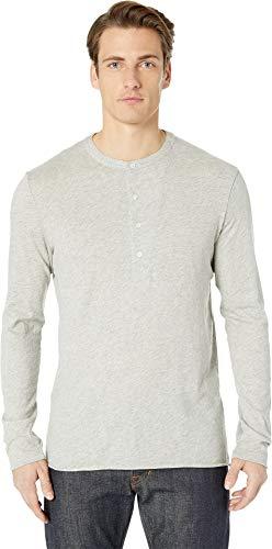 Billy Reid Men's Cotton Cashmere Long Sleeve Louis Henley, Light Grey, L