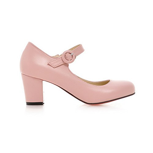 Imitated Leather Uppers Cut Heels Shoes Pumps Pink Low Buckle Womens Chunky BalaMasa Cw0q8pa