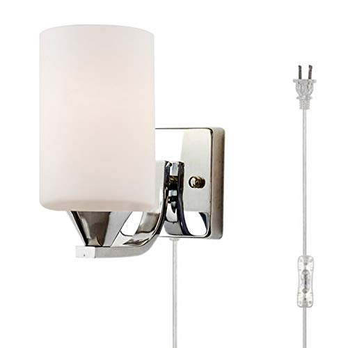 Kiven E26 Glass Led Plug In Wall Lamp Light Wall Sconce Lighting Fixture 110 240v With Plug And In Line On Off Switch For Living Room Bedroom