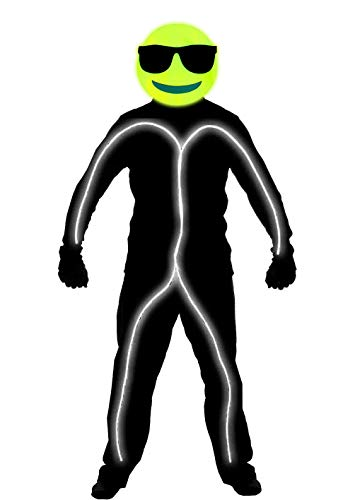 GlowCity Light Up Bright Neon Wire Cool Emoji Stick Figure Costume for Parties Lighting & Mask Kit - Clothing Not Included - White - Large 6 FT + Tall]()
