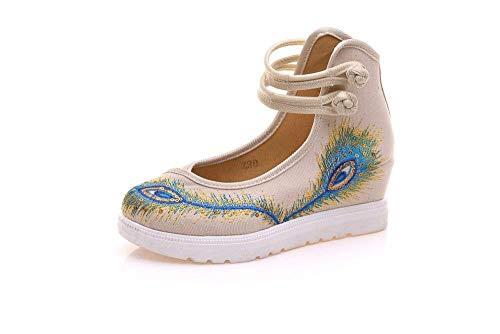 Bordados Suela Tamaño Tendón 38 Metros Étnico De color Zapatos Cómodos Eeayyygch Informales Estilo Moda Femeninos Lino Aumentados Blancos Hw5Ax