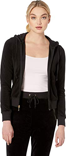 Juicy Couture Black Label Womens Robertson Fitness & Yoga Workout Hoodie Black ()