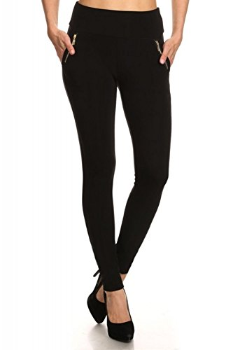 ShoSho Womens Skinny Pants Slim Fit with Pockets and Zippers Fall Winter Treggings Bottoms Black ()