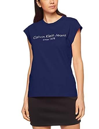 Calvin Klein Women's 30'S Single Tee, Blackend Indigo(Blue), X-Small