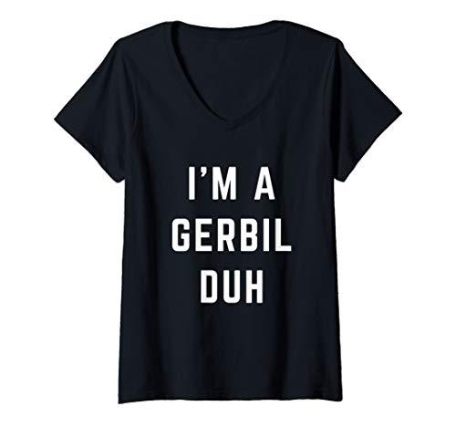 Womens I'm a Gerbil Duh Easy Halloween Costume V-Neck T-Shirt