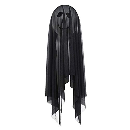 FENICAL Halloween Balloons Decoration Set Black Ghost Stuck to The Wall with Tulle Covered Party Supplies (Balloons*1 + Elastic Yarn*1 + Double-sided -