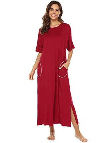 URRU Nightgown Womens Oversized Loose Fit Sleepwear Long Loungewear Dress with Pockets Wine Red - Sleepshirt Long