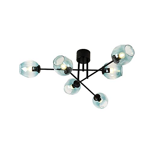 Windsor Home Deco WH-63880 6-Light Metal Chandelier with Glass Lampshades, Ceiling Lamp Semi Flush Mount