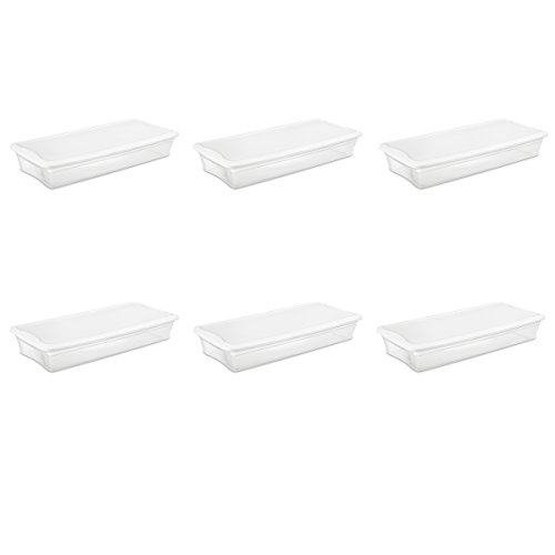 - Sterilite 19608006 41 Quart/39 Liter Underbed Storage Box, Clear with White Lid, 6-Pack