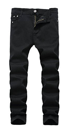Boy's Black Skinny Fit Stretch Slim Straight Fashion Jeans Pants,12 Slim,Black,12 -