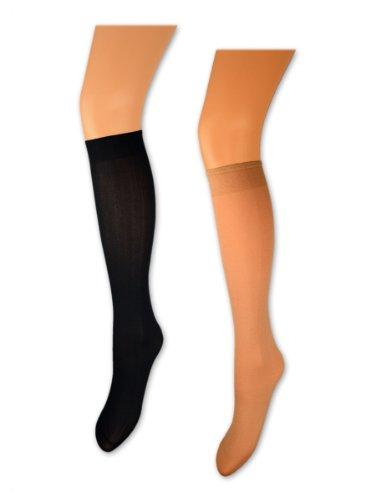 5, 10 oder 20 Paar Damen Feinkniestrümpfe 60 DEN Blickdicht Komfortbund Schwarz oder Braun - Sockenkauf24 (35-42, 10 Paar - Braun)