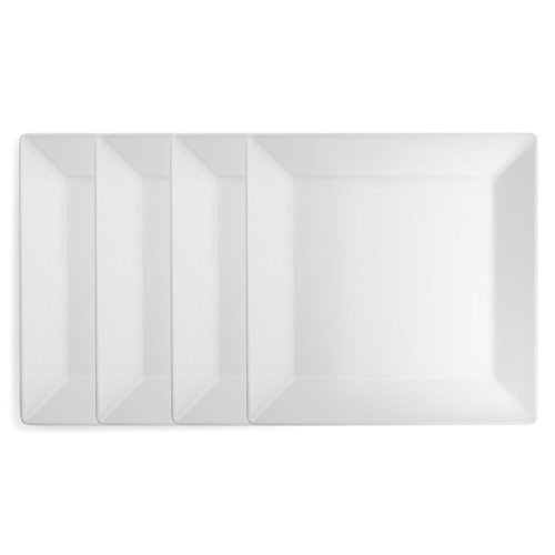Melamine Plate 10.5 (Q Squared Diamond White BPA-Free Melamine Dinner Plate, 10-1/2 Inches, Set of 4, White)