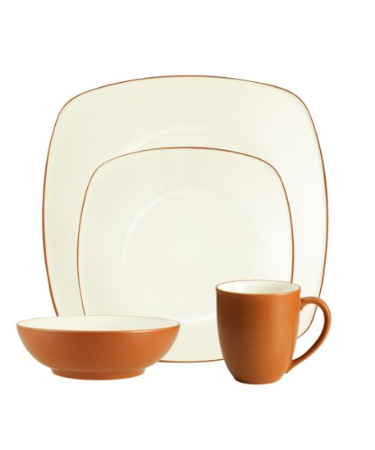 Cheap Noritake Colorwave Terra Cotta 4-Piece Place Setting, Square Shape