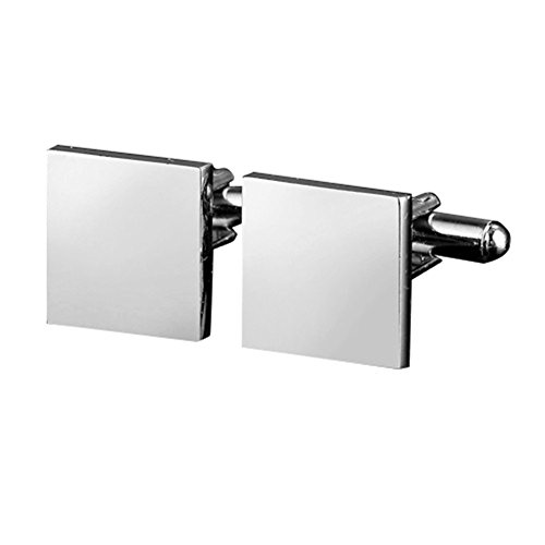 MGStyle Men's Cufflinks - Silver Tone - Square - Stainless Steel with Deluxe Gift (Personalized Square Cufflinks)