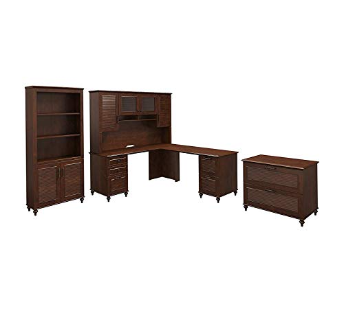 Wood & Style Furniture Dusk L Shaped Desk with Hutch, Bookcase and Lateral File Cabinet in Coastal Cherry Premium Office Home Durable Strong