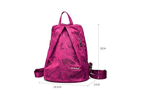 Anti-robo bolsa de hombro ligero femenino versión coreana del viaje a la lona de nylon mochila de la mochila salvaje ( Color : Negro ) Rosa Roja