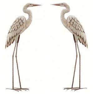 Egret Whitewashed Finish Metal Garden Statuary (Set of 2)