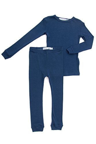 Simply Merino Wool Kids Blue Pajama Set. Thermal Underwear Base Layer PJ Unisex. Size 5, Blue Night