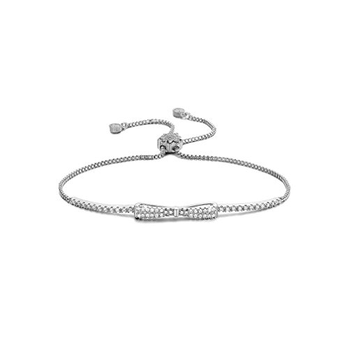 Bow Bracelet (SHINCO Bella Lotus Cute Bowknot 18k White Gold Plated Chain CZ Diamond Charm Bracelets Women Girls Jewelry, Gifts for Graduation)