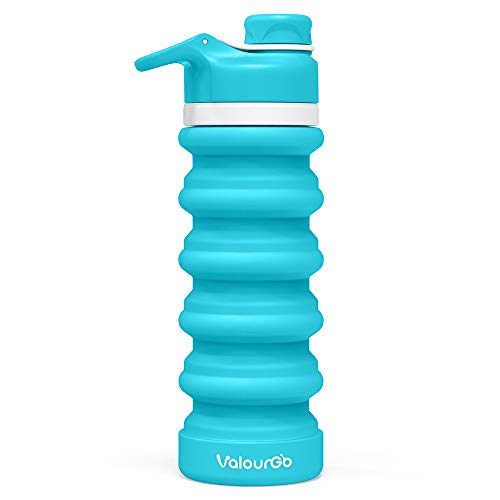 Valourgo BPAFree Collapsible Water Bottle - Reusable Water Bottle for Gym Bike Running Cycling, 550ml 19oz Aqua Blue Sports Water Bottle