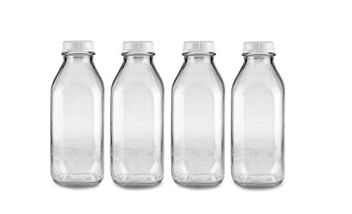 The Dairy Shoppe 1 Qt Glass Milk Bottle with Cap. 4 Pack Square Style 32 Oz ()